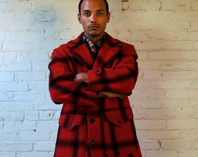 Mackinaw Jacket 1940s Retro Double Cruiser HERCULES SEARS Mens 42 44 Vintage Milton Wool Red Black Warm Plaid Field Coat Logger Hunting USA