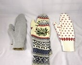 Upcycled Sweater Mittens, Adult Size, Your Choice of Pattern: Silver, Pinecone, Cream & Red