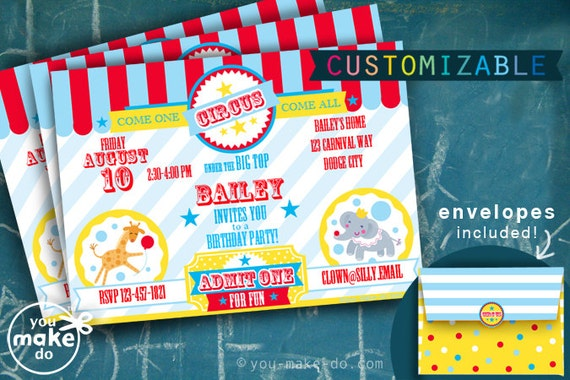 circus invitation circus party first birthday circus – Circus Party Invitation