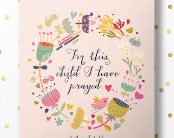 For This Child I have Prayed - 1 Samuel 1:27 - Bible Verse Art Print, Printable Scripture, Wall Decor, INSTANT DOWNLOAD