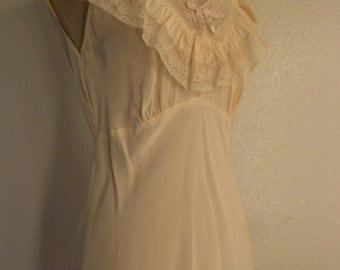 1930s-40s Nylon Night Gown with bone color lace.