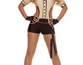 Adult cop costume poses
