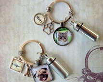 Pet Memorial Key Ring with Custom Photo and Cremation Urn,  Loss of Cat,  Loss of Dog Memory and Remains Vial,  Ash Container