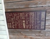 Family Rules Large Typography Subway Word Collage Primitive Distressed Sign Routed Edge 12x24