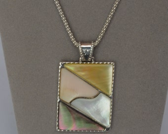 STERLING Silver Pendant Necklace Abolone Shell  Vintage