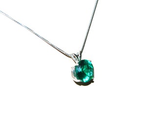 Emerald Necklace, Sterling Silver, 18 Inch Chain, May Birthstone