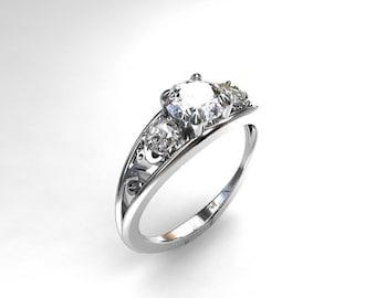 white sapphire ring, filigree, engagement ring, sapphire, wedding ring, trinity, lace ring, filigree engagement, white gold, sapphire