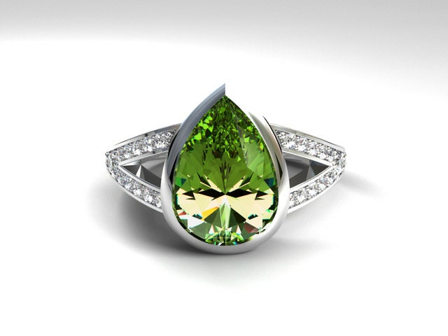 pear shape peridot engagement ring ring unique