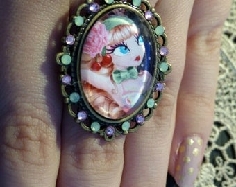 Coeur de Loli II adjustable ring, cameo with Swarovski crystals