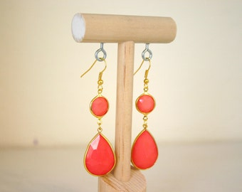 Coral & Gold Dangle Earrings