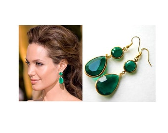 Emerald Green Drop Dangle Earrings - Green Jewelry