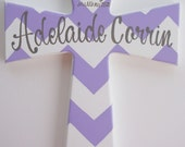 Large chevron hand painted personalized childs wooden wall cross