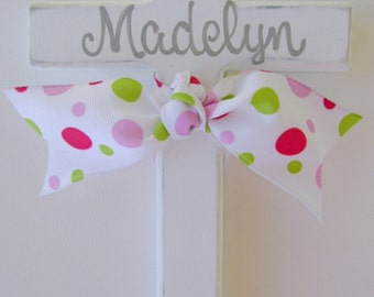 Pink grey hand painted childs personalized wooden wall cross with ribbon