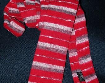 VTG 50's – 60's skinny Red Square-end striped Flannel Necktie  L53
