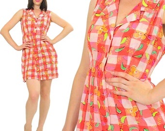 Boho mini dress Gingham Plaid Vintage 90s Grunge Checkered Hippie Mod Mini Abstract Party sundress Medium