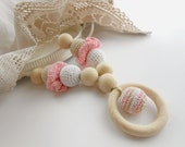 Crochet Nursing Necklace with a wooden ring Teething Necklace in pink cream white Breastfeeding jewelry Shower gift