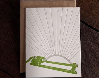 Lawn Sprinkler Letterpress Greeting Card