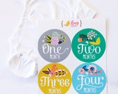 Monthly Baby Stickers Gift Set by Lucy Darling with 0-3 Month Gerber ONESIE - Floral Hand Lettering - Months 1-12