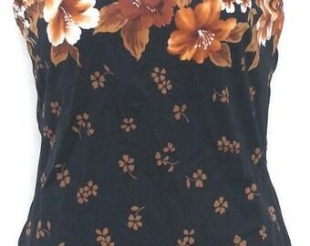 ISLANDER Black with Brown Trpoical floral 1-piece Bathing Suit US sz 12