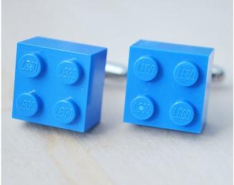 Valentine's Day - Cufflinks With Lego Bricks - Personalized Blue Cufflinks - Best Man Cuff Links