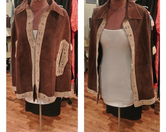 1970s Brown Suede Cape Coat Short Brown and Tan Leather Cape Jacket Vintage Flared Boho Cape Coat