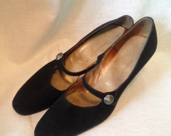 Mary Jane Pumps 1950's MR EASTON black suede Size 7.5 narrow DOWNTON Gs
