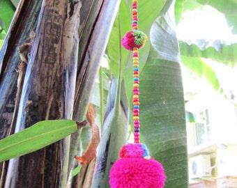 Pom pom Garland, Pompom garland, Colorful garland, Colorful mobile, Beaded garland, Childrens mobile, Babys mobile, Rainbow garland