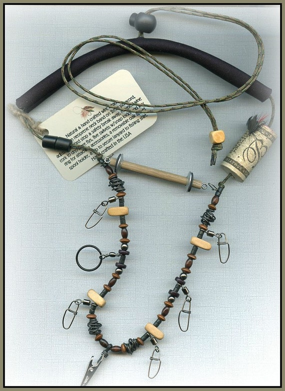 Fly fishing lanyard with tippet holder hematite wood and for Fly fishing tippet