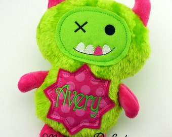 AVERY - Already Personalized  Lime Green & Hot Pink Monster Stuffed Plush Doll (Ready To Ship)