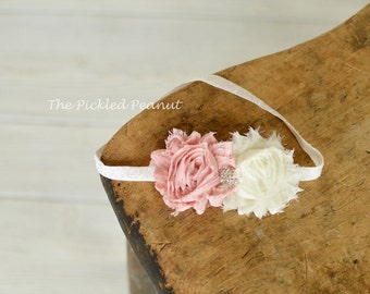 Baby Headband Newborn Headband Toddler Headband Dusty Pink Ivory Shabby Rose Flower Baby Girl Baby Bow Headband Headpiece Hairband Wedding