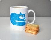 Percy Cat Mug in Teal