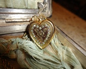 Reserved --Victorian Heart Locket  Diamond or Rhinestones Circa 1900s
