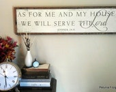 8x34 Joshua 24:15 Typography Art Wood Sign -- As For Me and My House, We Will Serve the Lord