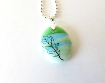 Leaf Glass Necklace Pendant - Free Shipping