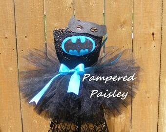 Turquoise Batgirl inspired tutu dress - batgirl inspired - Halloween - Birthday costume size newborn to 10 - costume