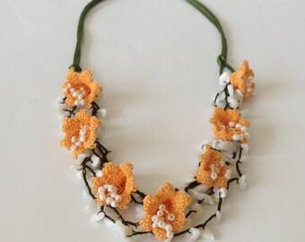 Boho Necklace, Multistrand Necklace, Beaded Necklace, Statement Collar, Layered Necklace, Orange Bib Necklace, Crochet Oya Necklace