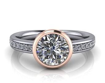Bezel Setting Engagement Ring Moissanite Center Diamond Setting  Ring Name Jasmine Two Tone