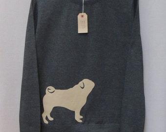 Leather Pug Jumper, Sweater, Dark Grey Heather, Crew Neck, Sweatshirt, Pug Lover, Pug Gift, Dog Sweater, Fawn, Copley And Holdsworth