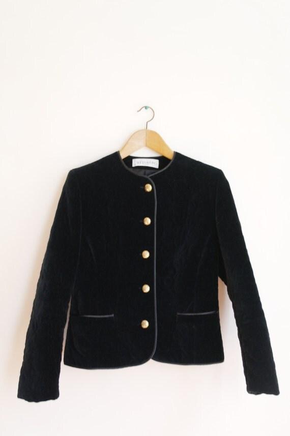 Veste en velours noir ann es 80 vintage boutons dor s - Veste annee 80 ...