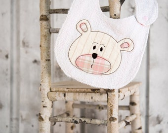 baby bib for girl embroidered teddy bear pink, Baby bibs for little boy and girl up to 4 years old