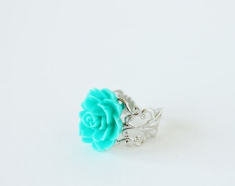 Light Green Rose Adjustable Filigree Ring - Cute Cottage Chic - Shabby Chic