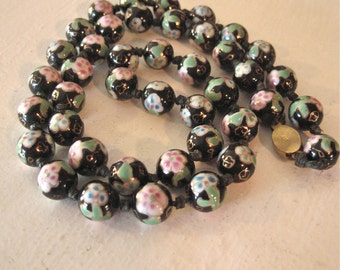 Vintage 60s Cloisonne Necklace of Black with Pink Floral Beads Hand Knotted Long Strand