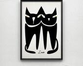 Black cat print -Cat art - Cat poster 8- art print by nicemiceforyou