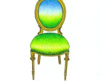 "Magic Chair Print:  Digital print of an original drawing available 5x7"" or 8x10"""
