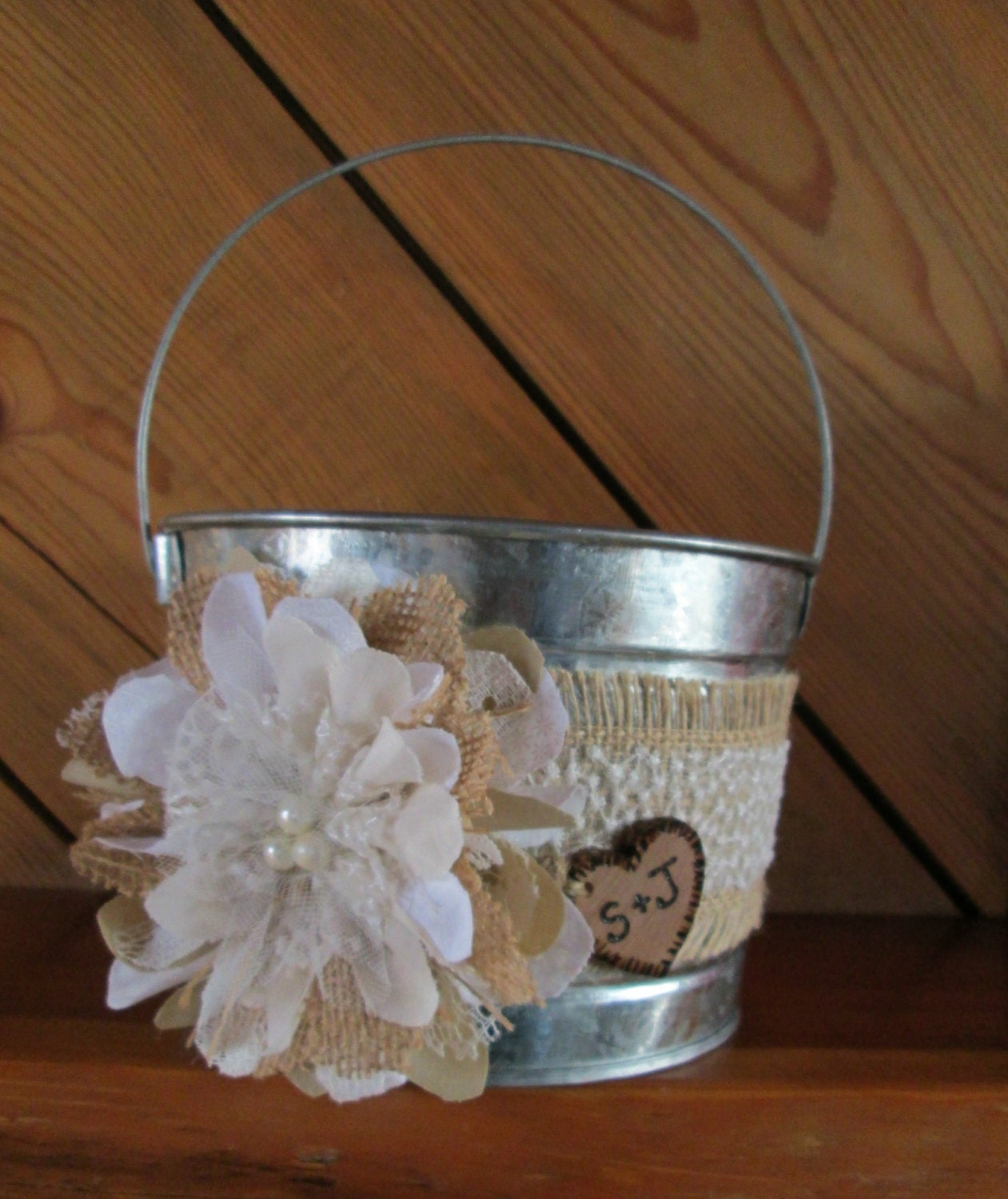 How To Make A Lace Flower Girl Basket : Personalized flower girl bucket burlap and lace wedding