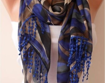 Geometric Chiffon Scarf with Lace Edge - Gift