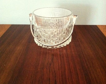 Vintage Modern Textured Glass Ice Bucket with Silver Handle