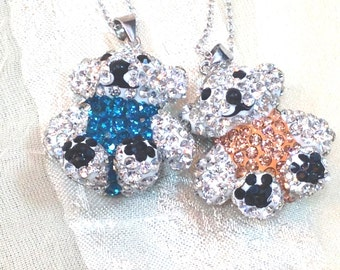Crystal Teddy Bear Necklaces Handmade Jewelry