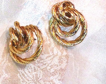 Vintage Double Hoop Earrings Classic Style in Gold Rope Mid Century Estate Jewelry