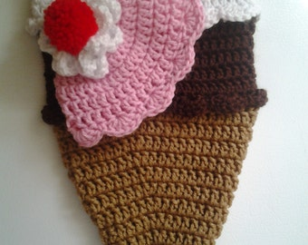Ice Cream Cocoon and Hat set Newborn Photography prop,baby's first photo, snuggy, baby costume